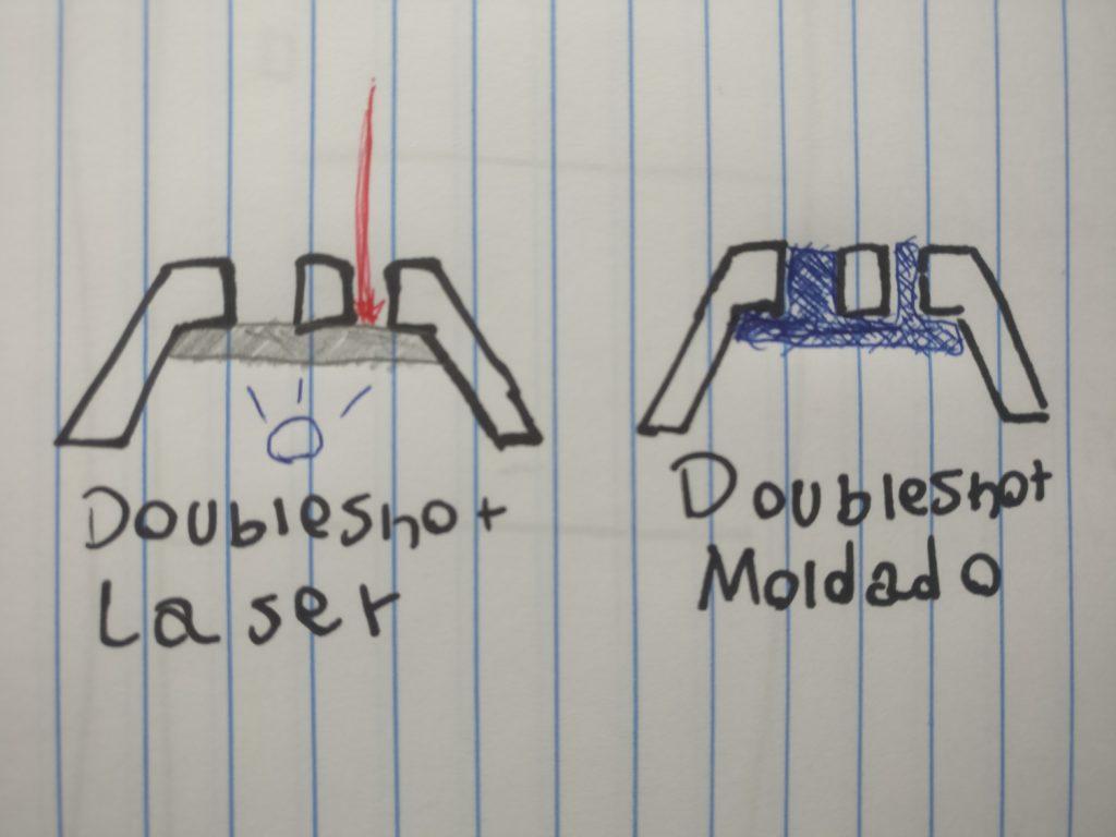 """Uma comparação entre Doubleshot Moldado e """"Doubleshot"""" Laser."""